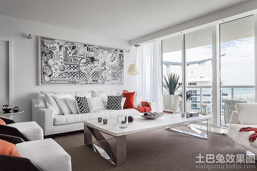 北欧风格客厅沙发挂画背景墙效果图