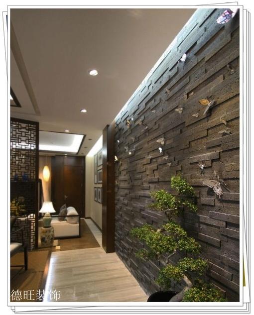 中式风格过道仿古砖背景墙装修效果图